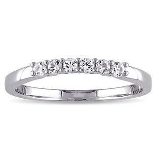 Miadora 10k White Gold Created White Sapphire Anniversary Ring