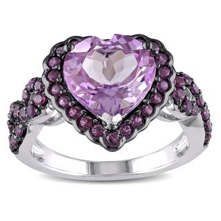 Miadora Sterling Silver Rose de France and Purple Garnet Heart Ring