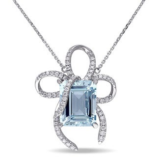 Miadora Signature Collection 14k White Gold Aquamarine and 3/5ct TDW Diamond Necklace (G-H, SI1-SI2)