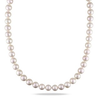 Miadora Signature Collection 14k Yellow Gold Akoya White Pearl Strand Necklace (8.5-9 mm)