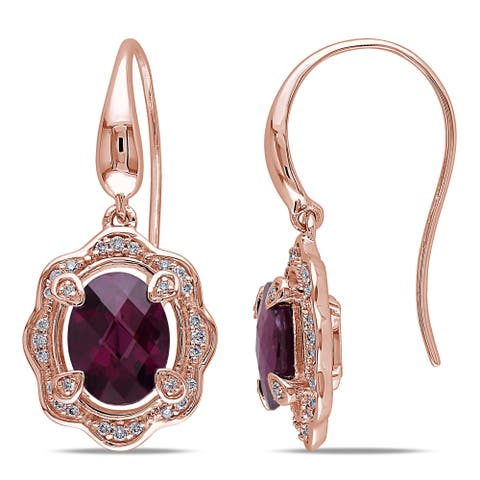Miadora Signature Collection 14k Rose Gold Rhodolite and 1/5ct TDW Diamond Dangle Earrings (G-H, SI1-SI2) - Red