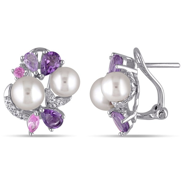 Miadora Sterling Silver Cultured Freshwater White Pearl, Sapphire, Amethyst and Rose de France Earrings (6.5-8 mm)