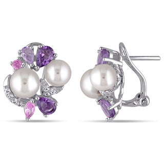 Miadora Sterling Silver Cultured Freshwater White Pearl, Sapphire, Amethyst and Rose de France Earrings (6.5-8 mm) - Purple