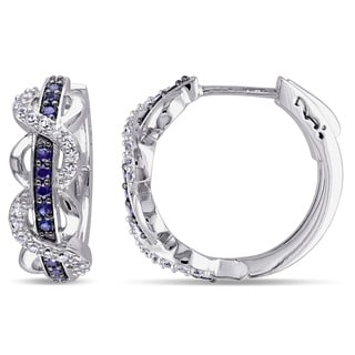 Miadora Sterling Silver Created White and Blue Sapphire Infinity Hoop Earrings