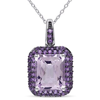 Miadora Sterling Silver Rose de France and Amethyst-Africa Halo Necklace