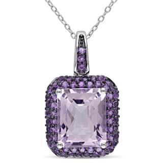 Miadora Sterling Silver Rose de France and Amethyst-Africa Halo Necklace https://ak1.ostkcdn.com/images/products/10071362/P17215389.jpg?impolicy=medium