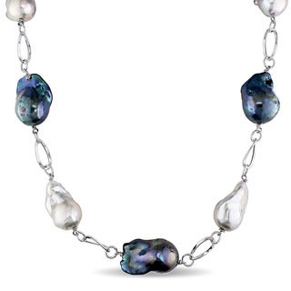 Miadora Signature Collection 14k White Gold Cultured Freshwater Multi-color Pearl Oval Link Chain Necklace (16-18mm)