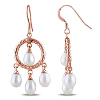 Miadora Rose Plated Sterling Silver Cultured Freshwater White Pearl Chandelier Earrings (5-5.5 mm)