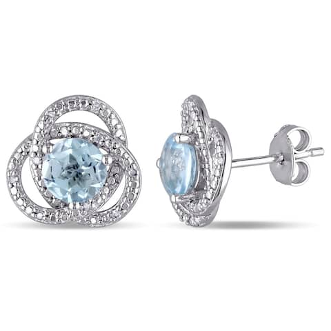 Miadora Sterling Silver Blue Topaz and 1/10ct TDW Diamond Love Knot Earrings (G-H, I2-I3)