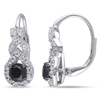 Miadora Sterling Silver Created White Sapphire and 1ct TDW Black Diamond Earrings
