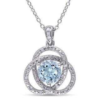 Miadora Sterling Silver Blue Topaz and 1/10ct TDW Diamond Love Knot Necklace (G-H, I2-I3)