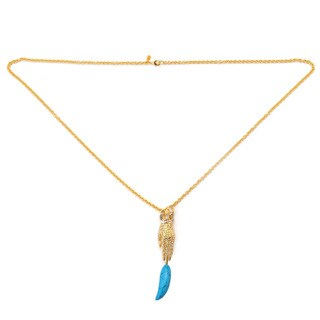 De Buman Yellow Gold Plated Turquoise 'Hamsa' Necklace