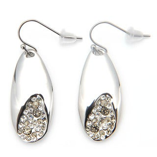De Buman White Rhodium Plated & White Czech Dangle Earrings
