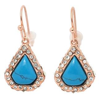 De Buman 18k Rose Gold Plated Turquoise Gemstone Earrings
