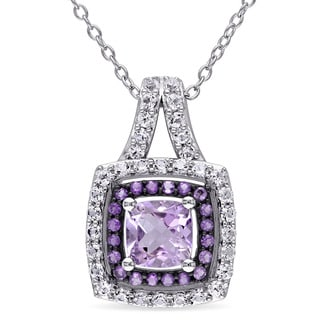 Miadora Sterling Silver Rose de France, Amethyst and Created White Sapphire Double Halo Necklace