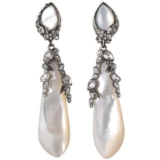 De Buman Black Rhodium Plated Mother of Pearl Gemstone Earrings