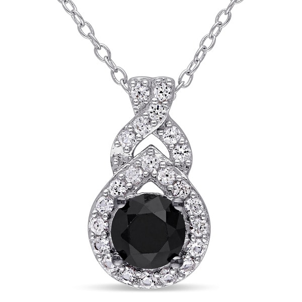Miadora Sterling Silver Created White Sapphire and 1ct TDW Black Diamond Drop Necklace