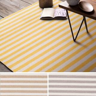 Hand-Woven Leyburn Stripe Indoor Wool Rug (2' x 3')