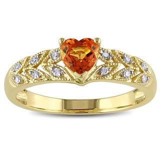 Miadora 10k Yellow Gold Orange Sapphire and Diamond Accent Heart Ring