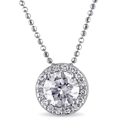 Miadora Signature Collection 14k White Gold 1 1/6ct TDW Certified Diamond Solitaire Necklace