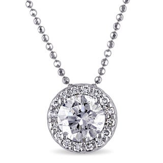 Miadora Signature Collection 14k White Gold 1 1/6ct TDW Certified Diamond Solitaire Necklace (G, I1, GIA)