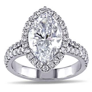 Miadora 18k White Gold 3 3/4ct TDW Marquise Diamond Halo Engagement Ring|https://ak1.ostkcdn.com/images/products/10071449/P17215469.jpg?impolicy=medium