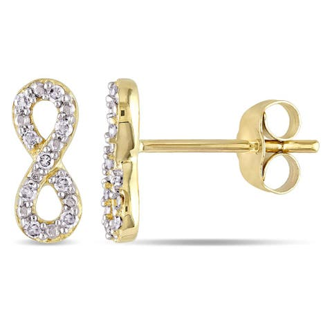 Miadora 10k Yellow Gold 1/10ct TDW Diamond Stud Infinity Earrings - White G-H