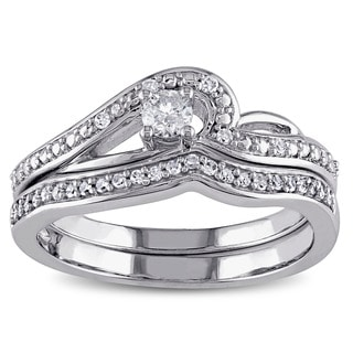 Miadora 10k White Gold 1/4ct TDW Diamond Bridal Ring Set