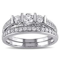 Miadora 10k White Gold 3/4ct TDW Diamond Bridal Ring Set
