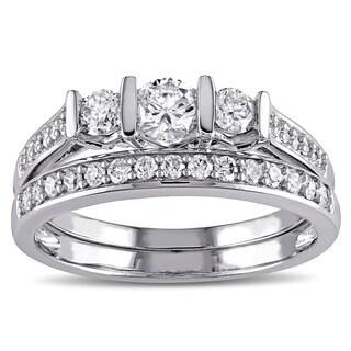Miadora 10k White Gold 3/4ct TDW Diamond Bridal Ring Set