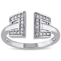 Miadora Sterling Silver 1/8ct TDW Diamond Open Ring