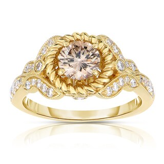 Eloquence 14k Yellow Gold 1ct TDW Vintage-inspired Natural Champagne Diamond Ring (I1-I2)
