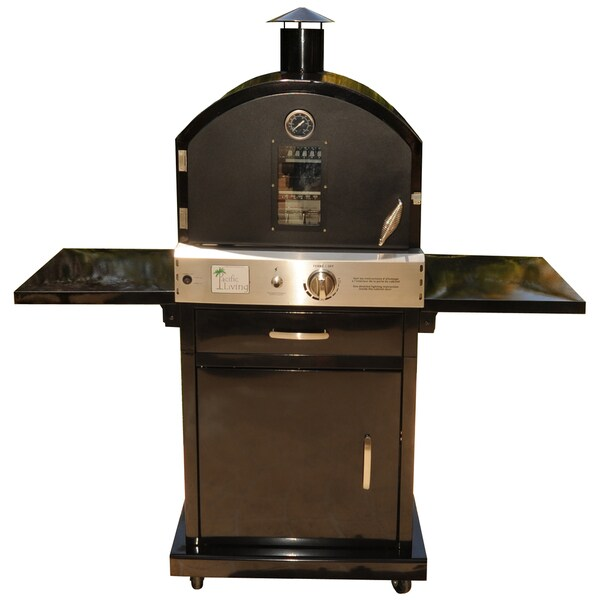 Pacific Living Black Powder Coat Protected Outdoor Gas Oven With Cart Free