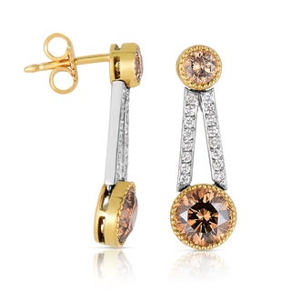 Eloquence Platinum and 18k Yellow Gold, 2 3/4ct TDW Natural Cognac Diamond Drop Earrings (Brown, SI1-SI2)