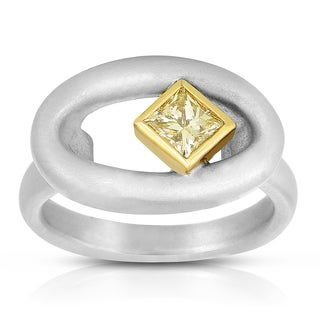 Eloquence 18k Two-Toned Gold 5/8ct TDW Light Yellow Diamond Ring (Yellow)