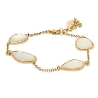 Yellow Goldplated Sterling Silver White Chalcedony Link Bracelet