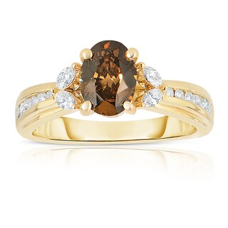 Eloquence 14k Yellow Gold 1 2/3ct TDW Oval Natural Cognac Diamond Ring (SI1-SI2)