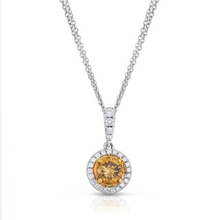 Eloquence 18k Two-Toned Gold 1ct TDW Natural Cognac Double-Chain Diamond Dangle Pendant (Brown)