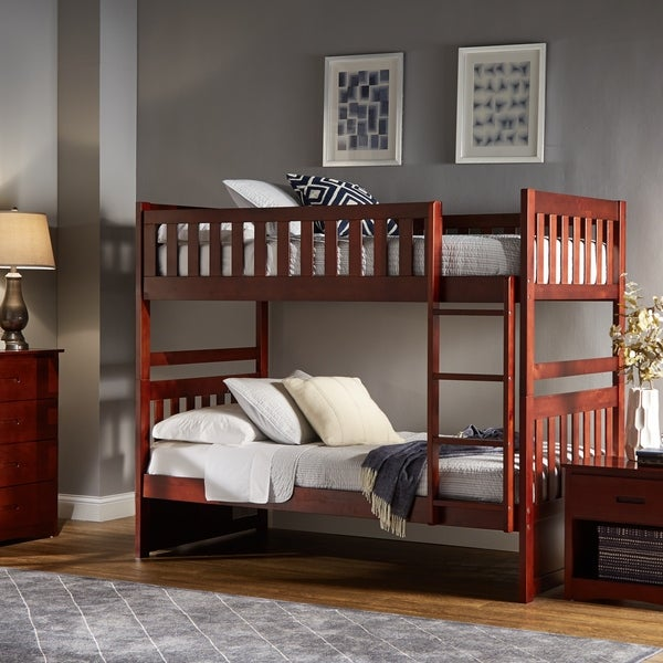Hunter Traditional Dark Cherry Wood Bunk Bed with Trundle and Storage Drawers by iNSPIRE Q Junior