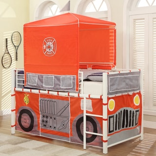 Hero White Fire Engine Metal Loft Bed