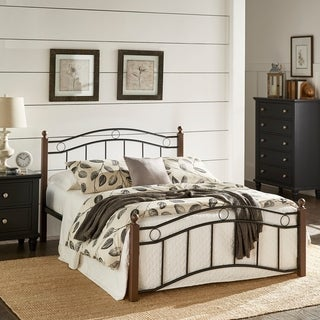 TRIBECCA HOME Sadie Brown and Black Twin Metal Bed