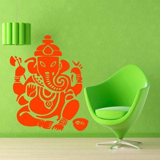 Orange Ganesha Elephant Sticker Vinyl Wall Art