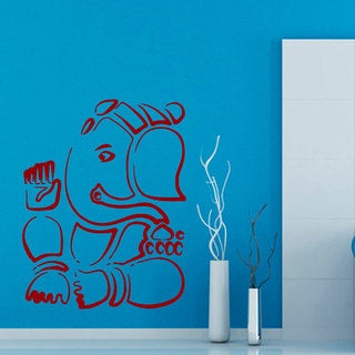 Red Ganesha Elephant Sticker Vinyl Wall Art