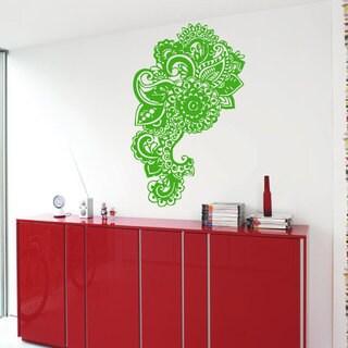 Green Flowered Elephant Ganesha Sticker Vinyl Wall Art