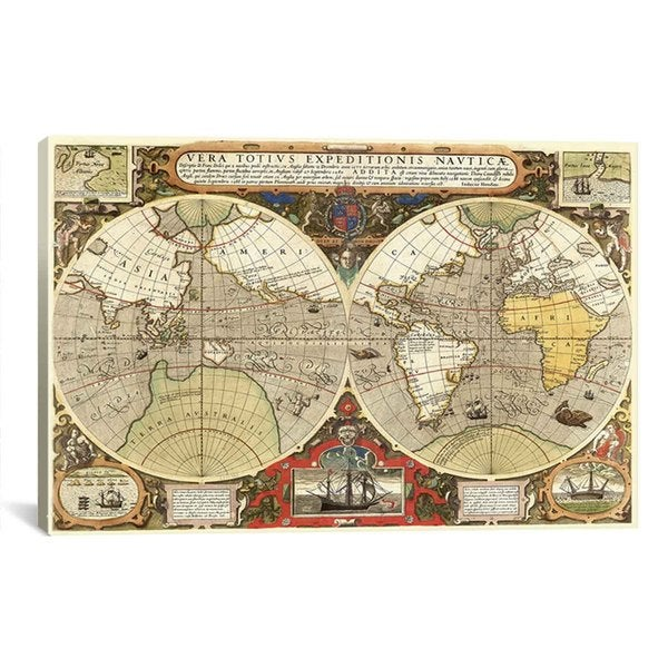 iCanvas Historical Map of the World (1595) Canvas Print Wall Art