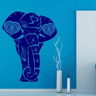Blue OM Sign Ganesha Elephant Vinyl Wall Art