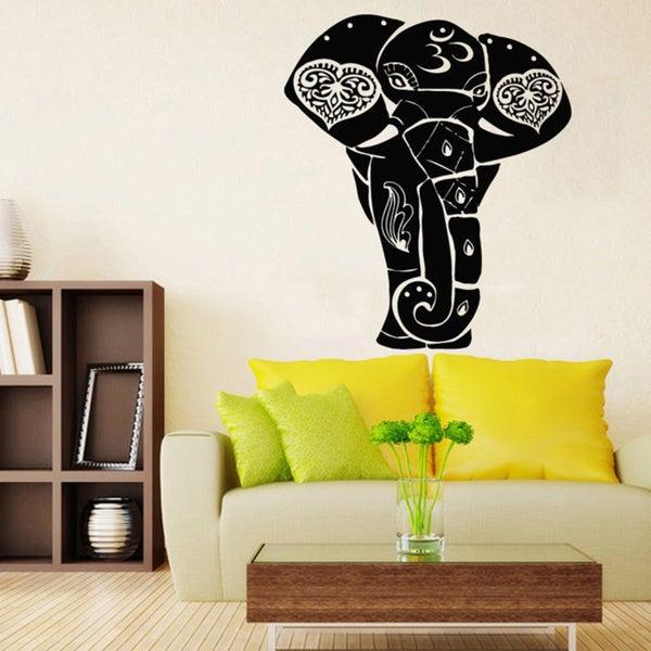 Black OM Sign Ganesha Elephant Vinyl Wall Art