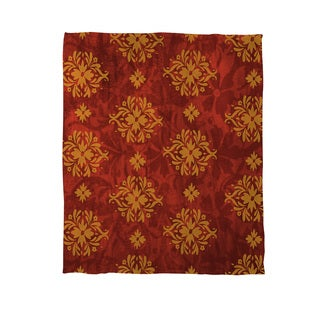 Palms Red/ Gold Coral Fleece Throw