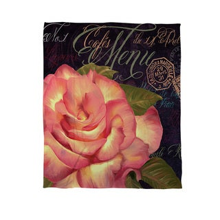 Thumbprintz Paris Menu Coral Fleece Throw