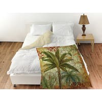 Palms Green Coral Fleece Throw